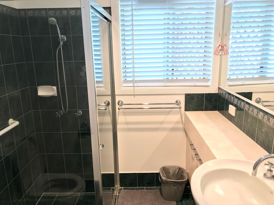 Private bathroom with large mirror, privacy blinds and heating unit