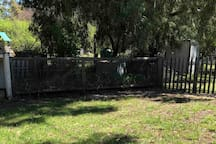 A fenced area for dogs.