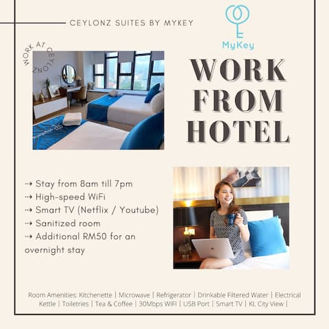 ★WFH★ Wi-Fi★ SmartTV‖Stay 8am - 7pm★ Rooftop Bar