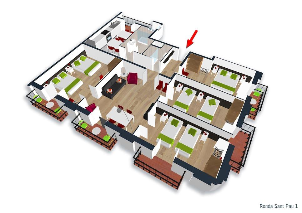 Floor plan four bedroom apartments