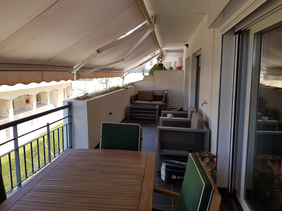Terrace wiht awnings
