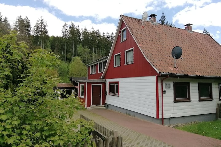 Beautiful semi-detached house in the Harz with wood stove, garden and direct river access