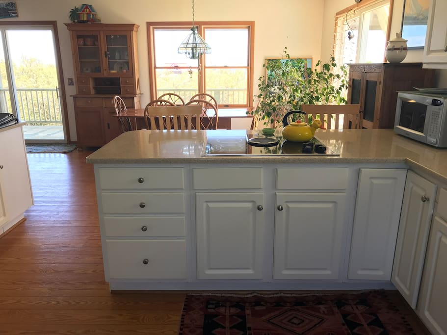 open floor plan kitchen with inside/outside dining options