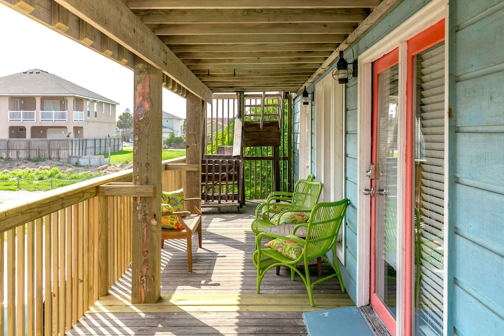 Front deck - good spot for morning coffee or evening appetizers.