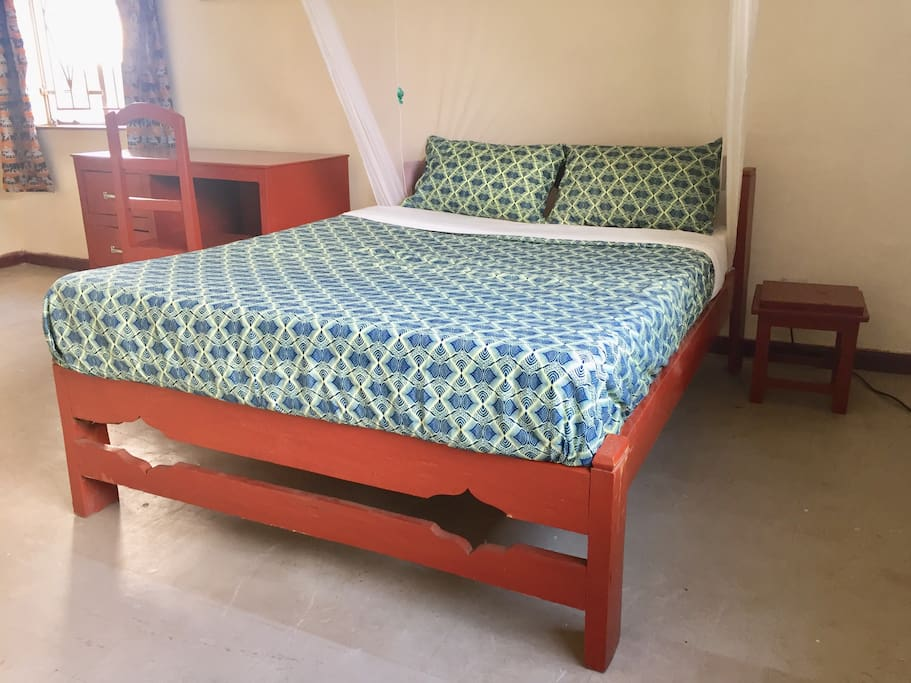 African Fabric Double Bed