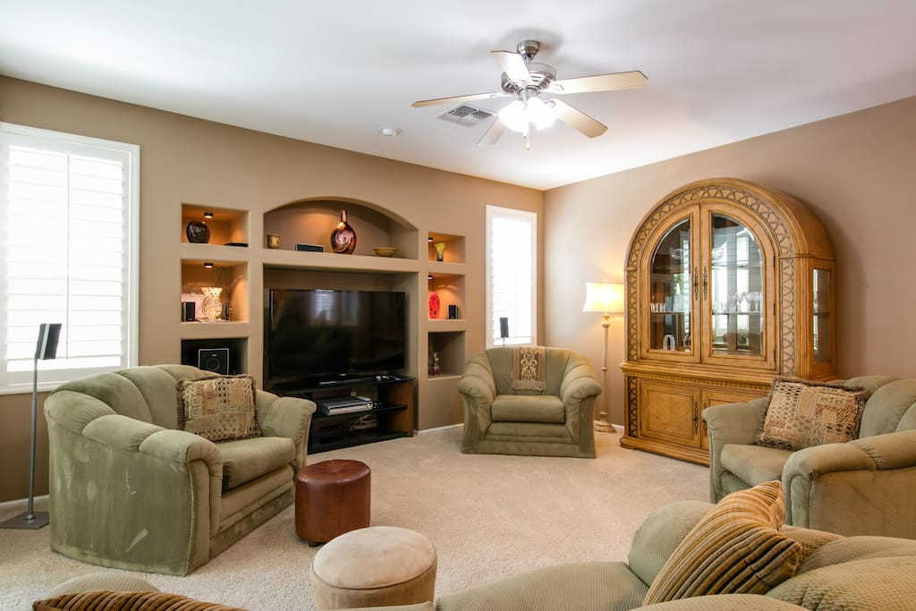 Family room with 60 inch LED TV