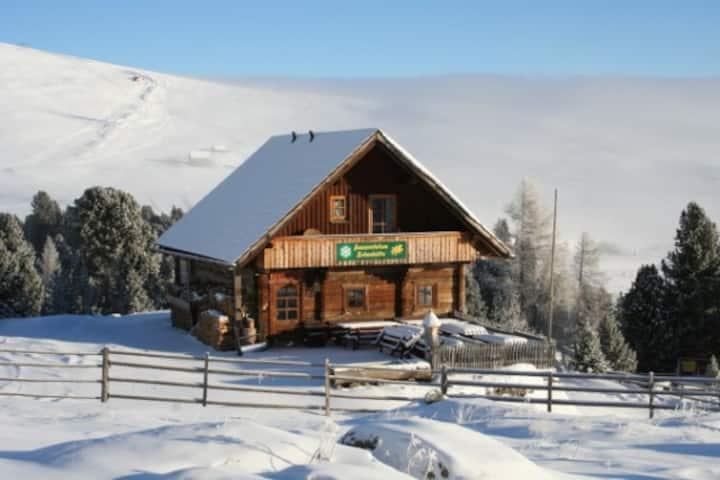 Zirbenhütte am Falkert auf der Heidi-Alm