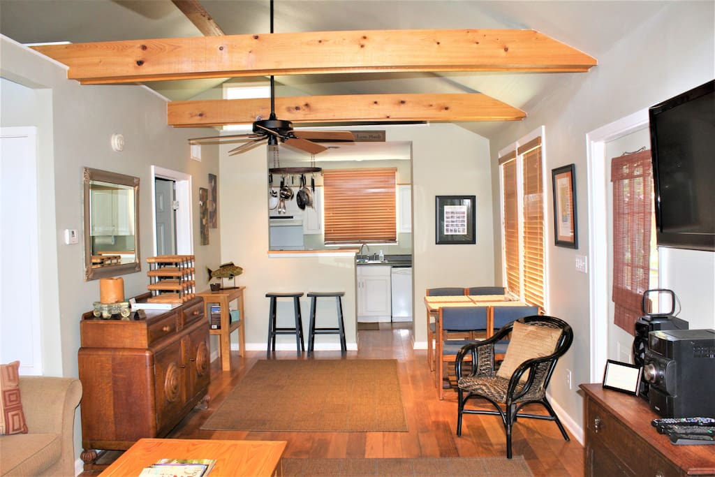 Open view of living/ dining/ kitchen area