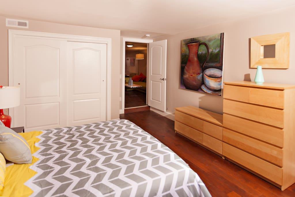 Spacious, modern bedroom.