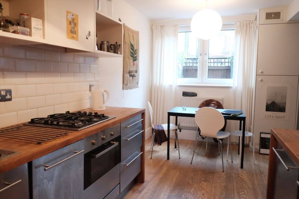 New and fully furnished kitchen, second table and chairs available for large dinners. Bar items available