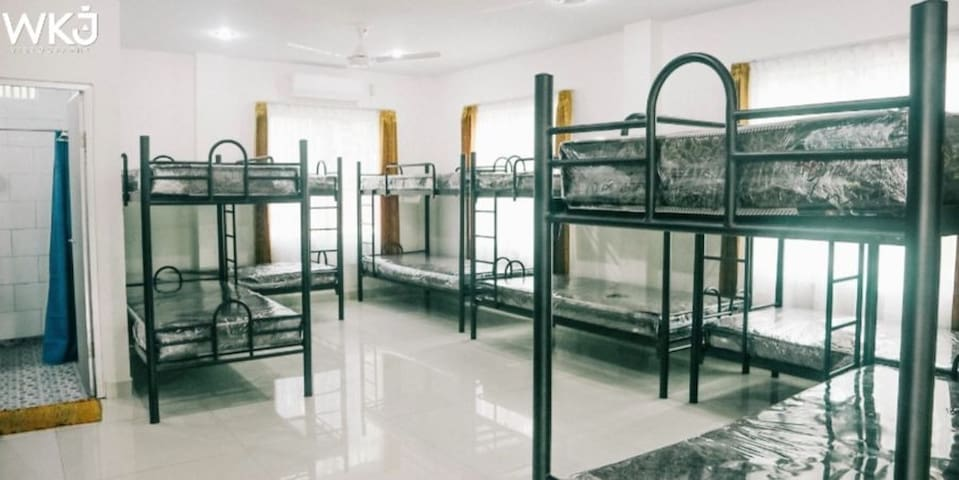 Male dormitory. 8 bunk beds. Clean and spacious.