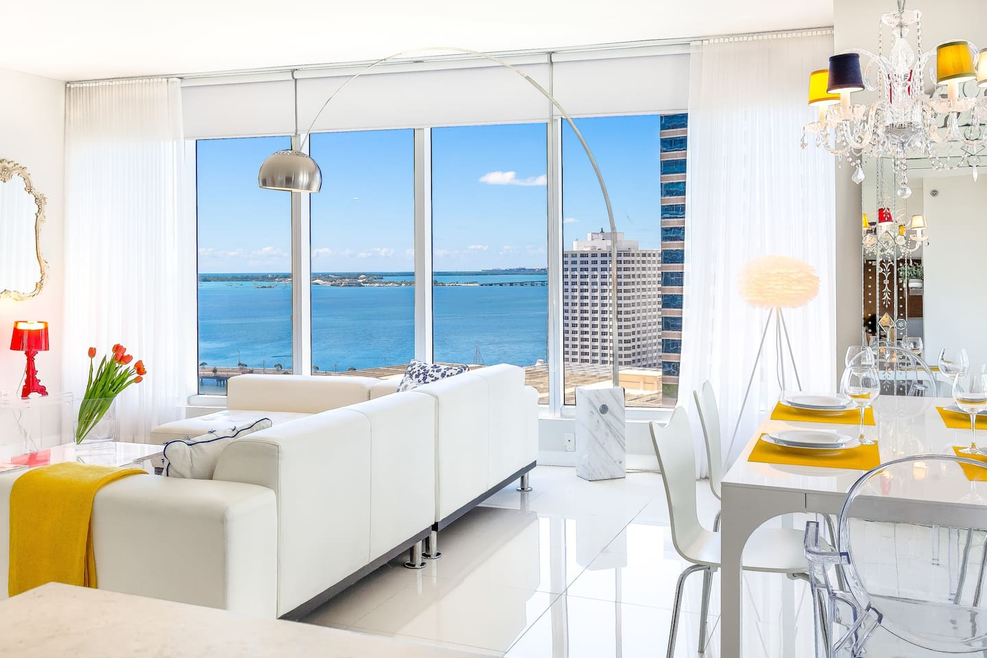 Floor to ceiling windows allow the views to invade your apartment.