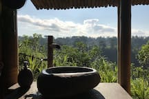 Bathroom sink with a view.