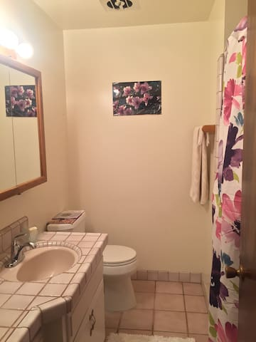Full bath directly across from room semi-private; not shared with host.