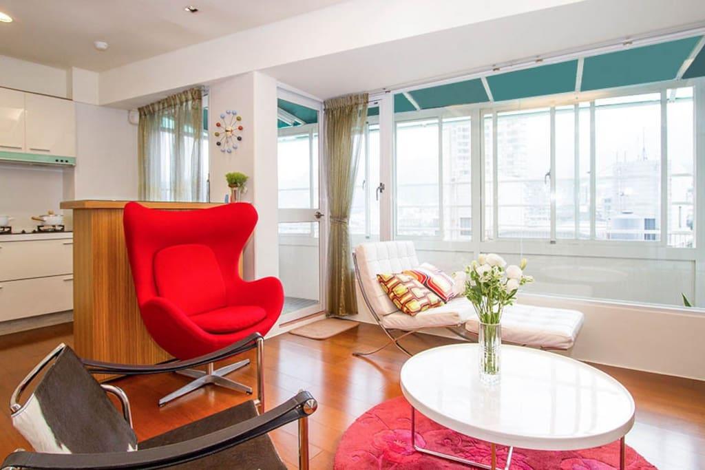 設計師家具,窗外陽明山180度美景