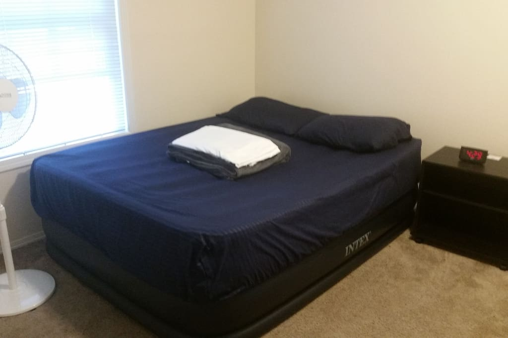 Here's the available bedroom. I have plenty of clean sheets and pillows for you, but no comforter (although it is August). The second airbed is identical to the one in this picture.