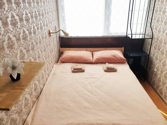 Double room. Astra hostel on Arbat near metro Arbatskaya and Kropotkinskaya, Arbat district, in the heart of Moscow.