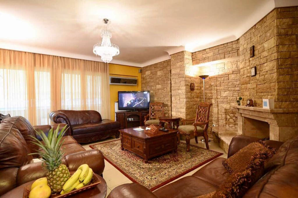 Large living room with leather comfortable sofas