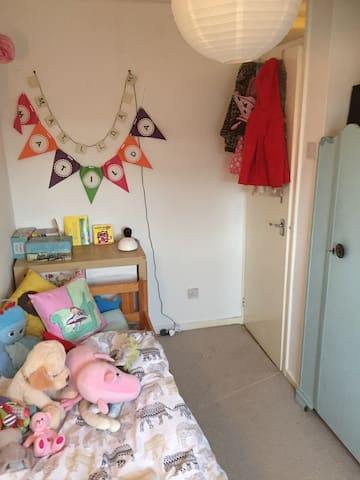 Bedroom 2 with toddler bed.  Might look to replace with a double bed (and redecorate) soon.