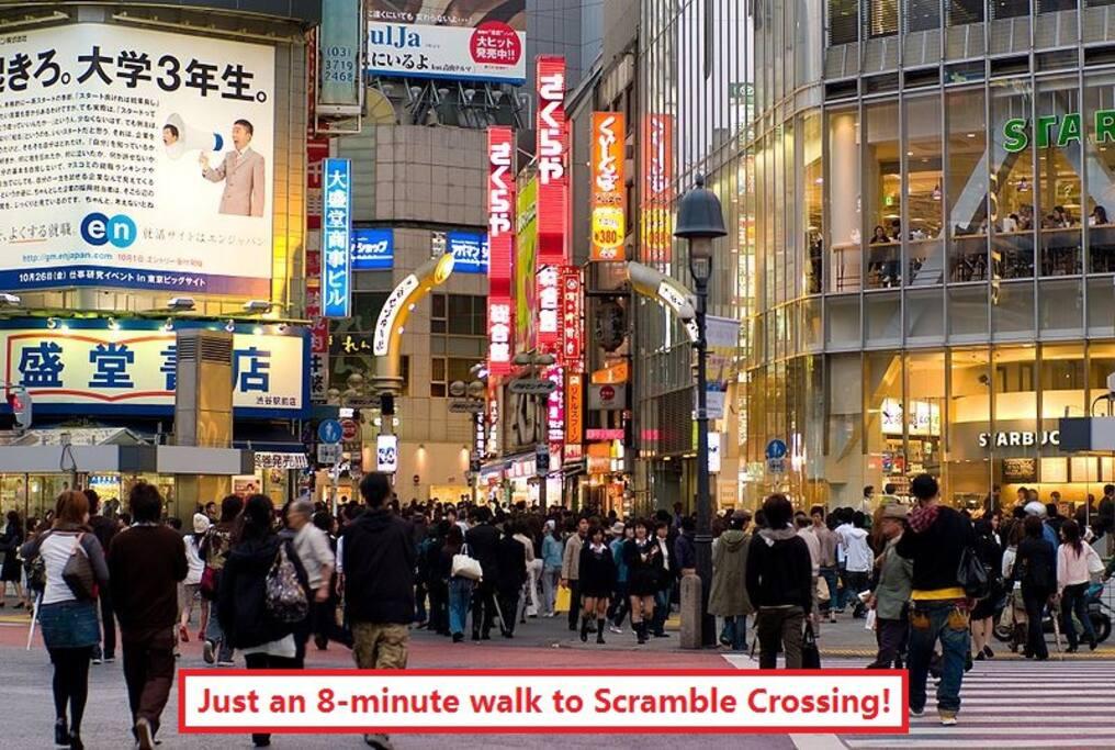 Just a 3-minute walk to Senta-Gai (aka Basketball Street) and an 8-minute walk to Scramble Crossing!