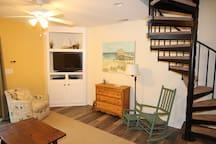family room, brand new floors