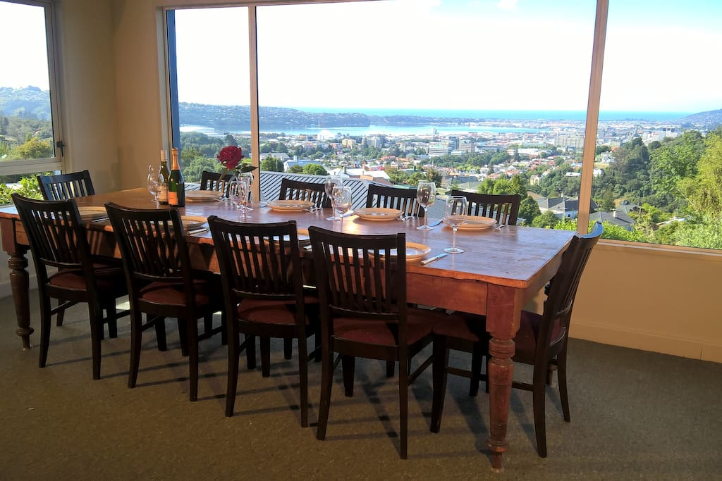 Ten-seater antique dining table overlooking the university