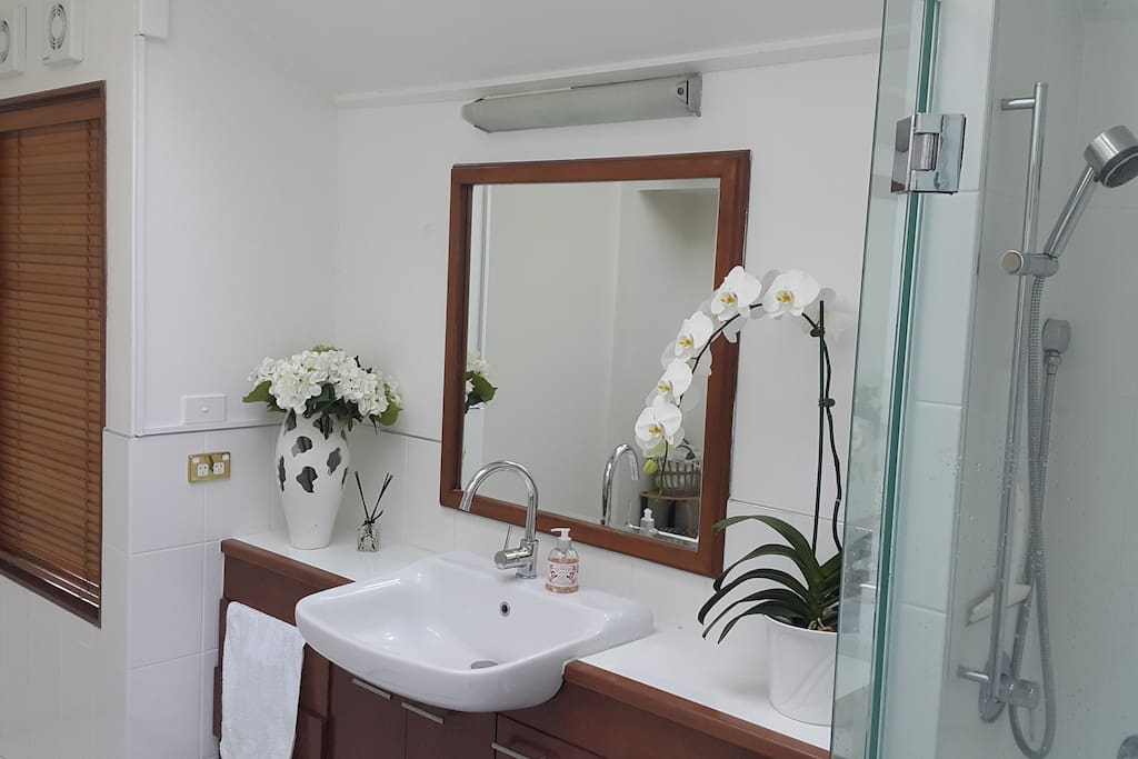 Our clean and beautiful bathroom with tiled spacious shower and a toilet