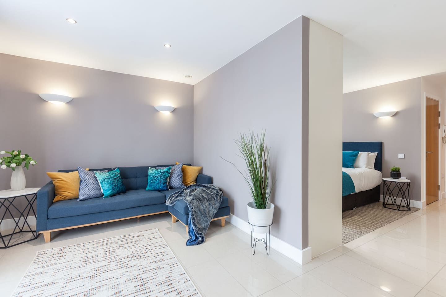 Studio Lounge Area showing divide to bedroom area