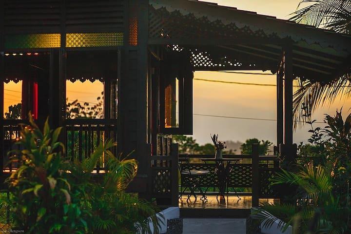 Sunset view from the Garden Villa