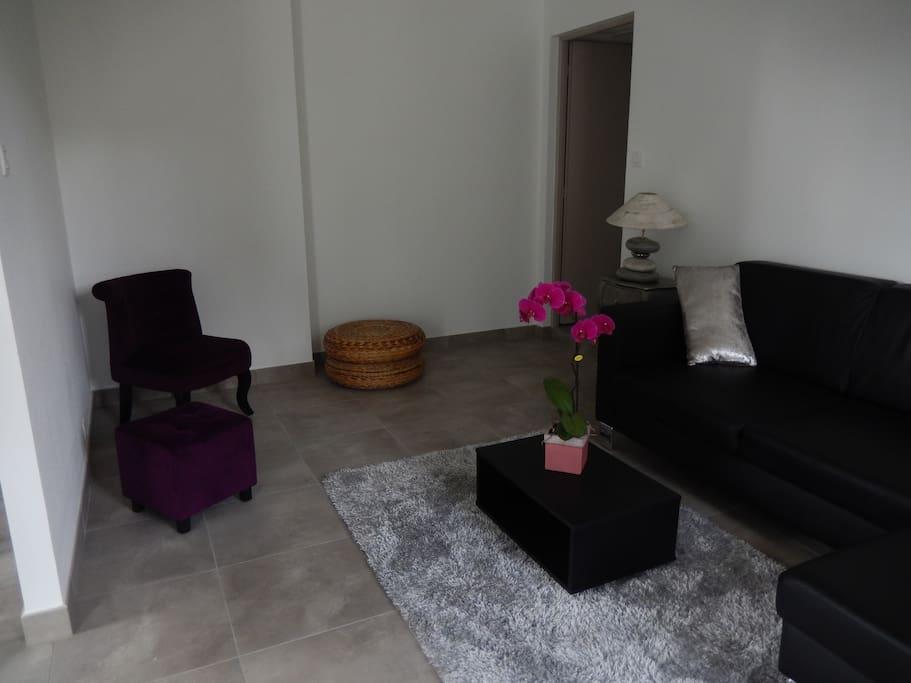 petit coin salon cosy avec télévision, canapé et fauteuil