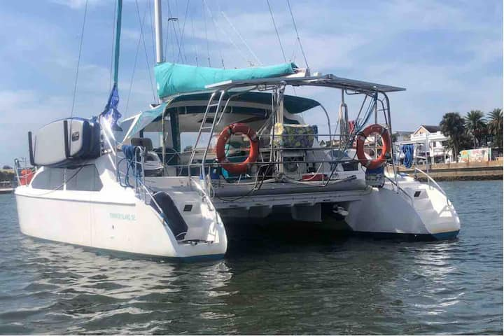 Catamaran sail boat houseboat at luxury resort