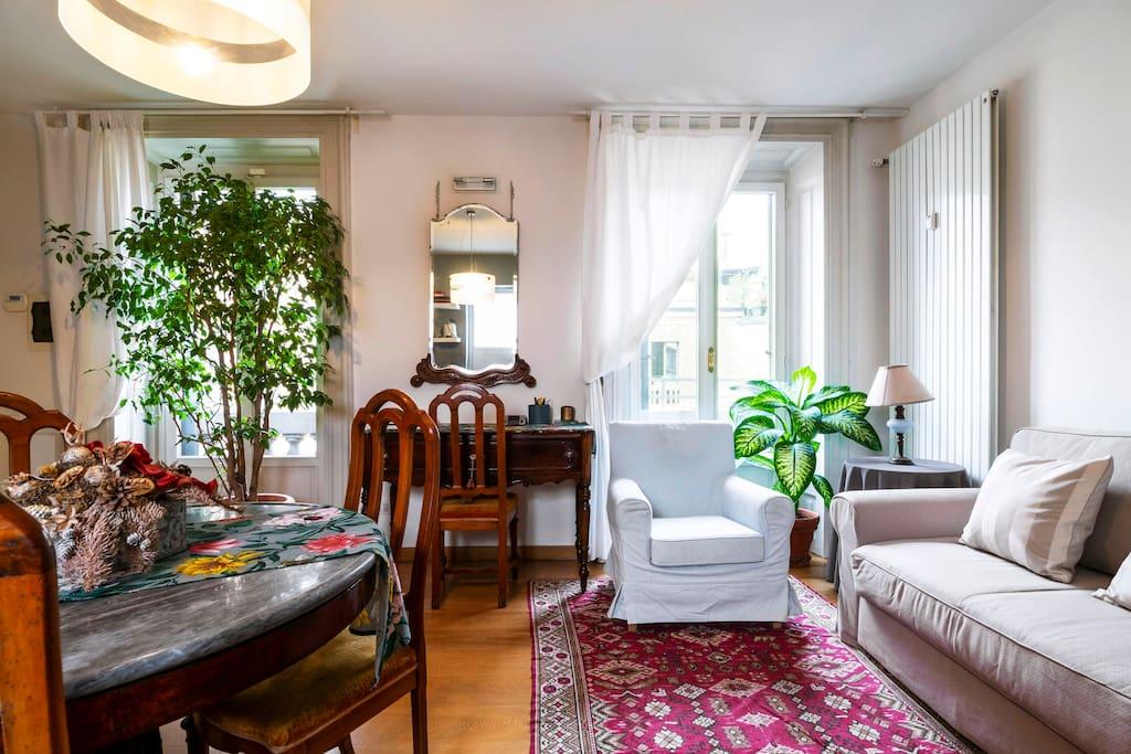 Living area and sofa (sofa-bed)