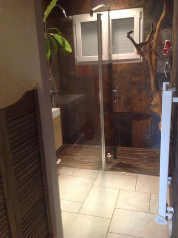 Douche à l italienne et toilette