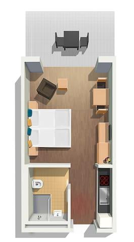 Exklusives, möbliertes 1 Zimmer Apartment.7