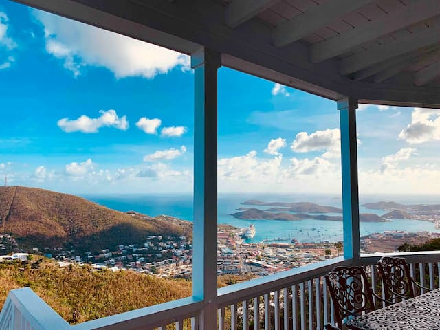 Panoramic views from the porch extending from the living room.
