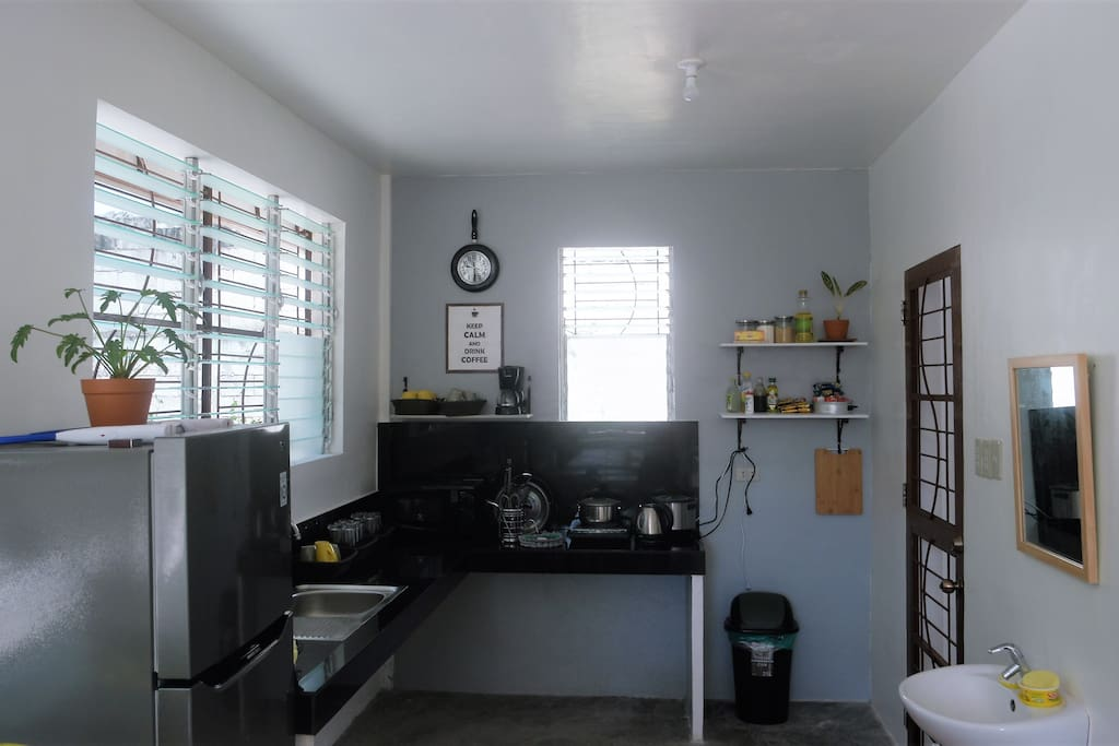 kitchen is fully furnished for guests to use.