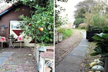 WELCOME autumn scenery of the Private Entry of your Cottage. Plus your intimate MORNING SUN Terrace; due to flowering shrubs, giant grasses and the boxed apple tree it's a WONDERFUL idyllic PLACE to START the DAY! Pics are made at 5.15 pm in October