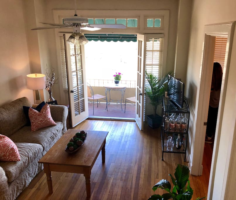 Living room looking out towards balcony
