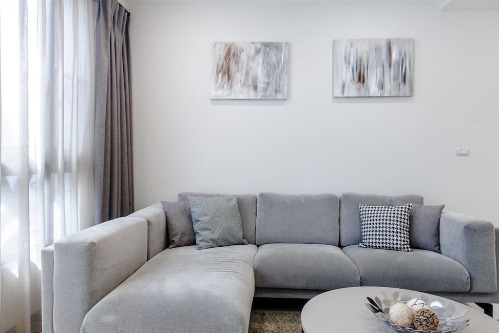 Living room with large sofa