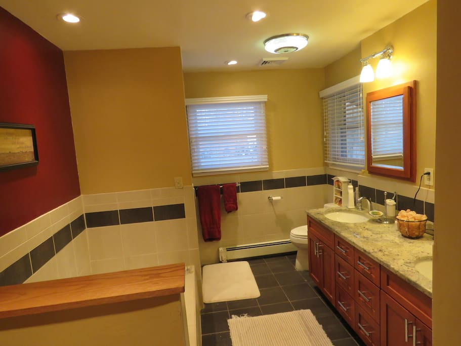 Bathroom features a separate shower and bathtub.