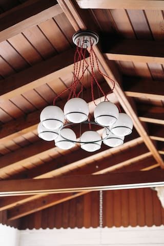 Wonderful beamed ceiling and Schoolhouse Electric lighting