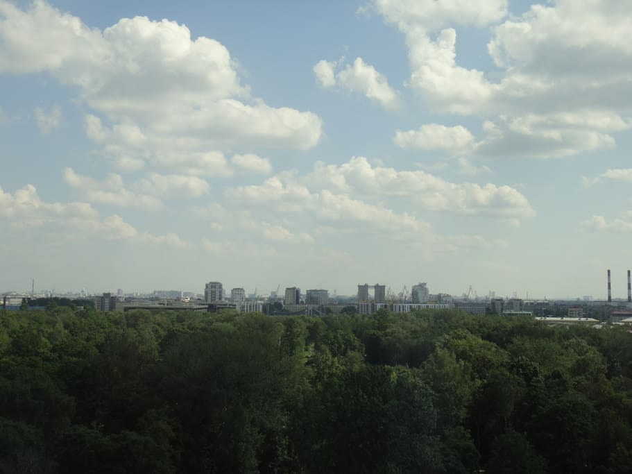 A view from the flat, the windows overlook the south of the city. Вид из квартиры, окна на юг.