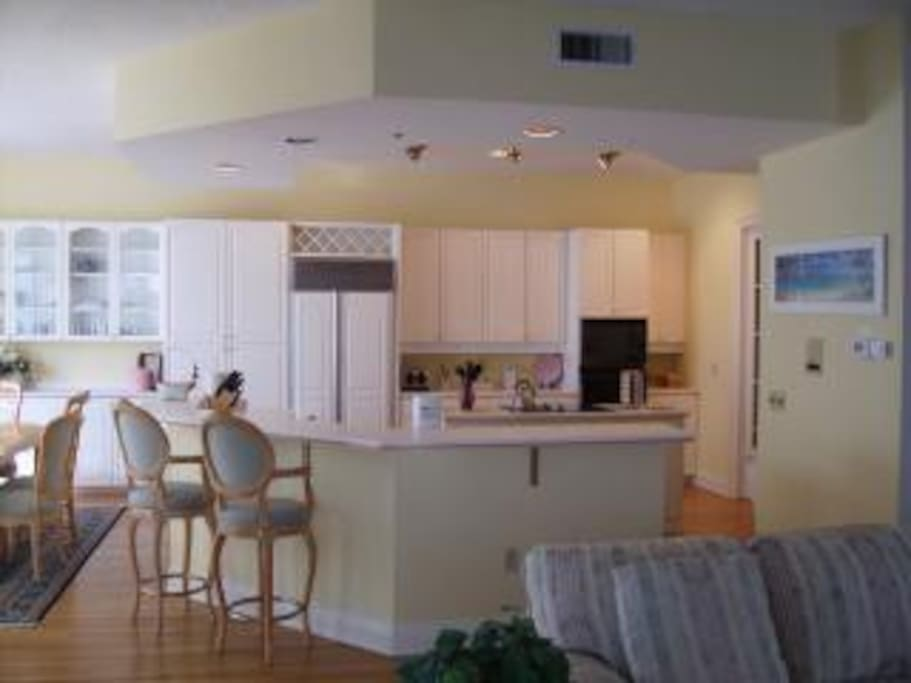 Full wrap around kitchen with island.