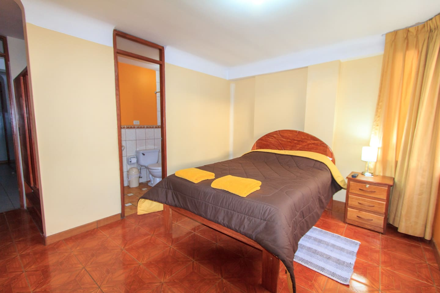 Comfortable double bed, closet and private bathroom