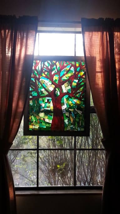 Beautiful stained glass offered by local Pine Hollow artist.