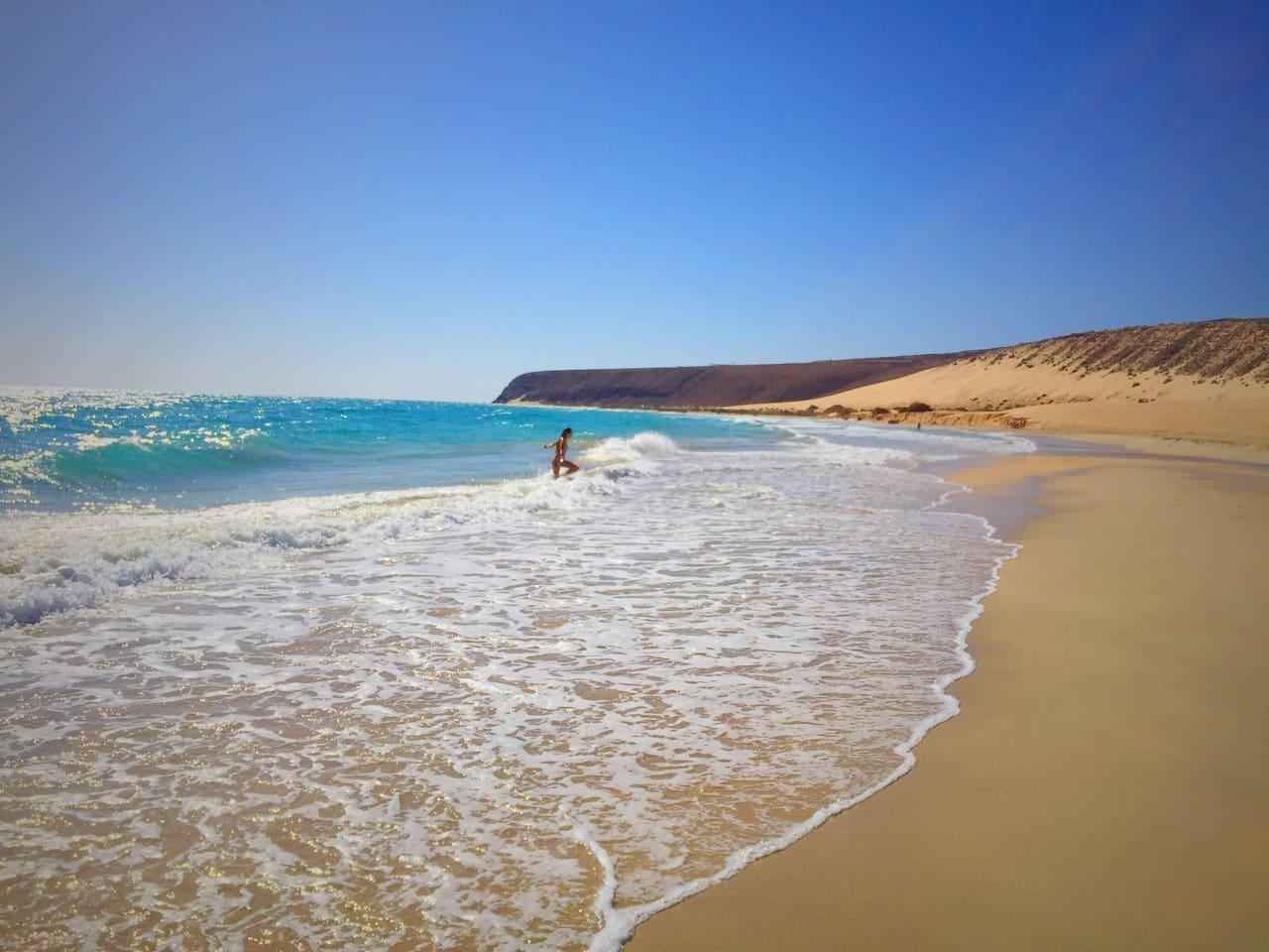 The amazing Costa Calma beach: eternal sun, sea, sand and sky...