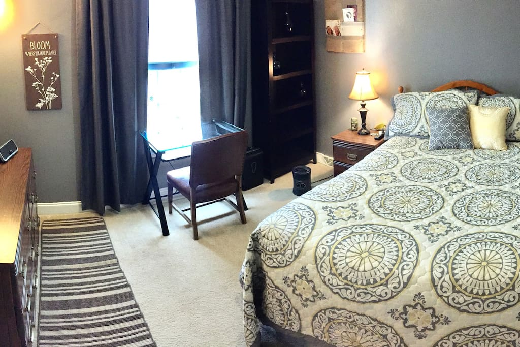 Queen-sized pillow top mattress with vanity dresser, end table, study desk, bookshelf, heater & power strip.