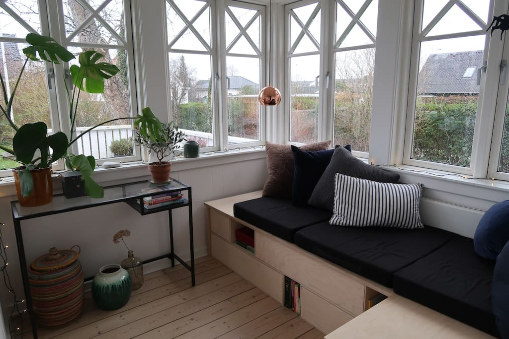 Garden living room with a beautiful view of the garden