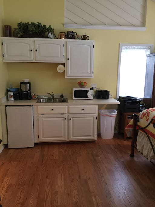Private kitchenette with coffee maker, microwave, toaster and refrigerator. Plates, cups and silverware provided.