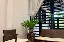 Our new addition to the Sun Room area where you can relax after your meal and enjoy the free hi-speed wifi.